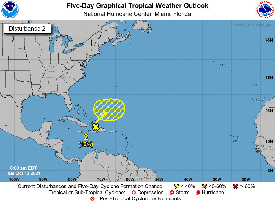 Disturbance over Bahamas 7am Oct 12