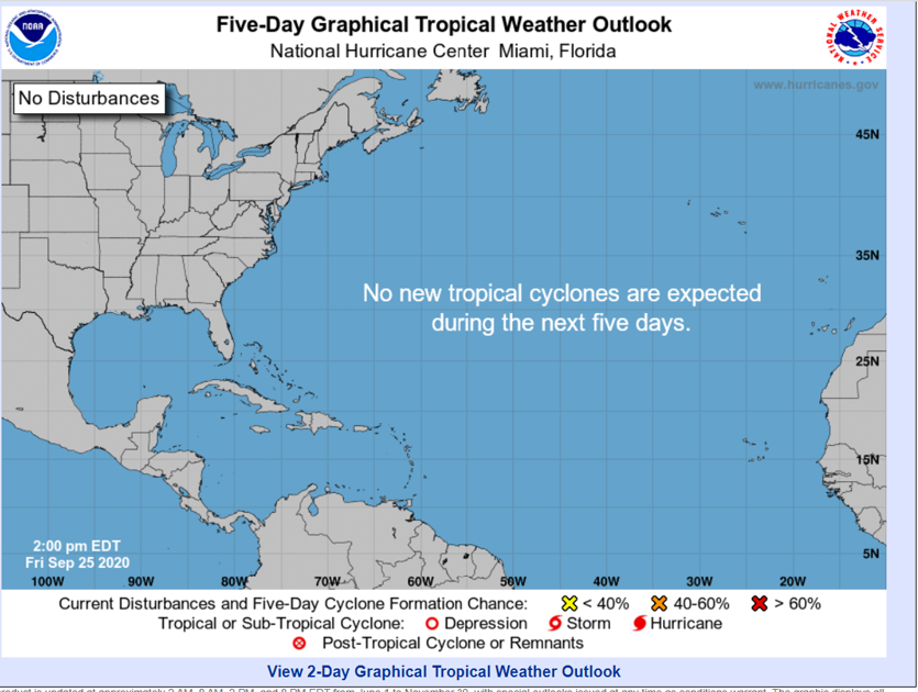 For the first time in weeks, the tropics...