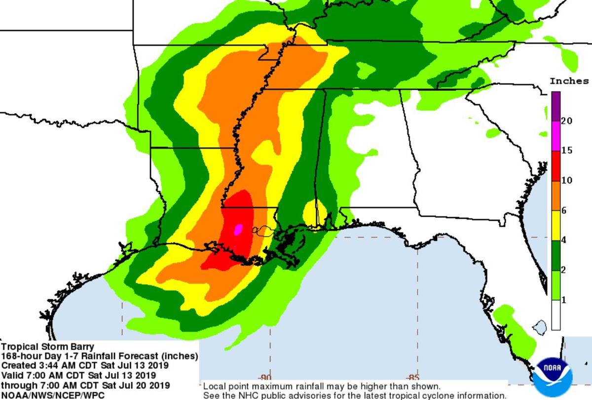 Rainfall forecast Tropical Storm Barry July 13, 2019