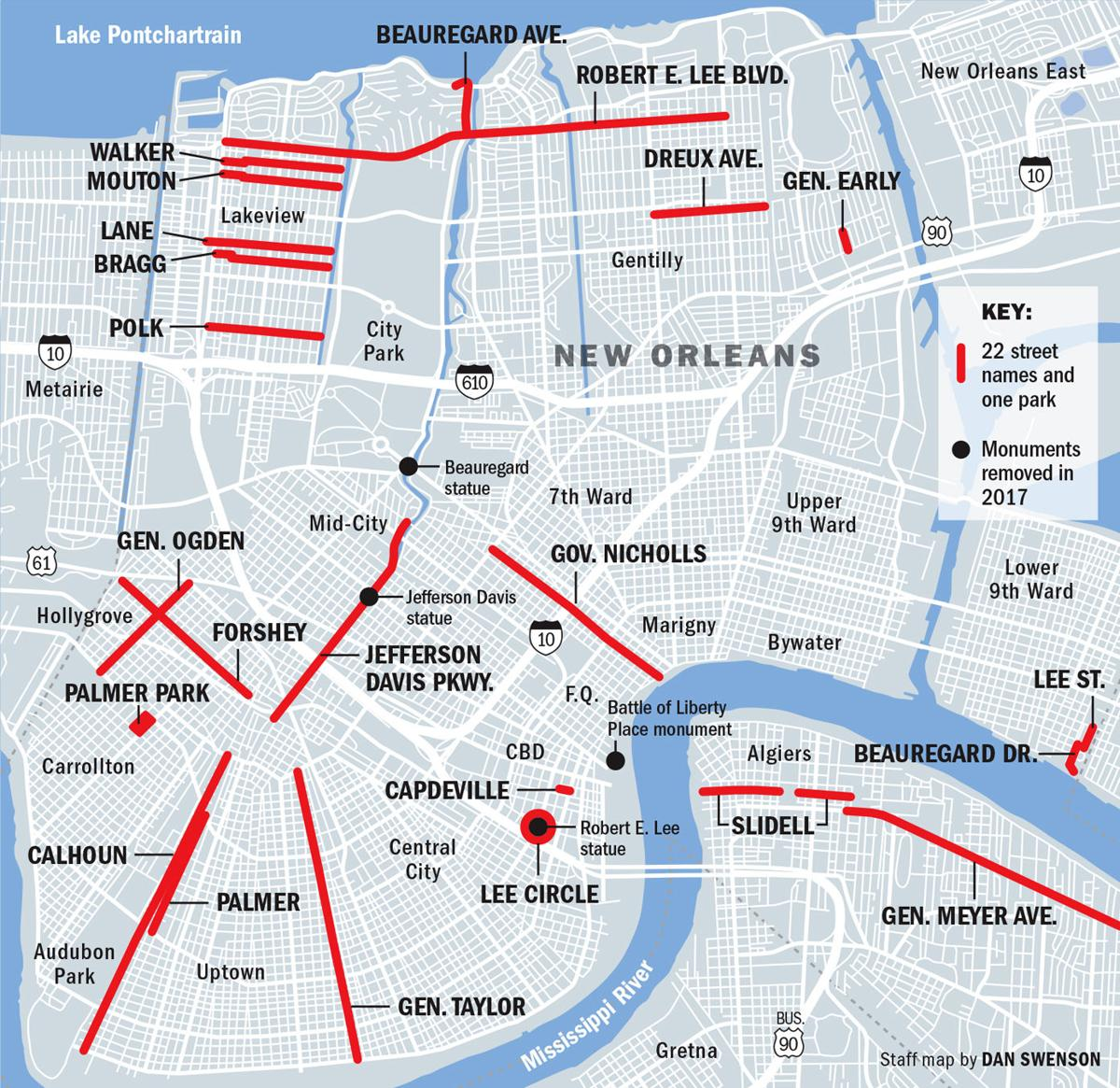 Map of Confederate street names in New Orleans