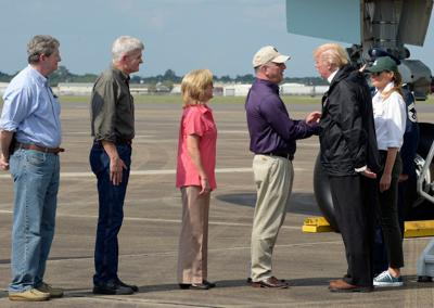 President Trump lands in Houston, will visit Lake Charles on Saturday