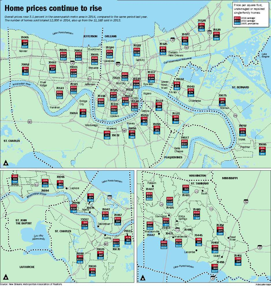 new orleans zip codes map Home Prices Rise For Third Year In A Row In The New Orleans Area new orleans zip codes map