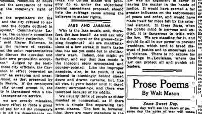 Jazz's 'musical value is nil' (1918): An editorial we regret