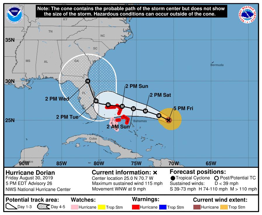 Hurricane Dorian now forecast to hug Florida Coast on Tuesday and Wednesday