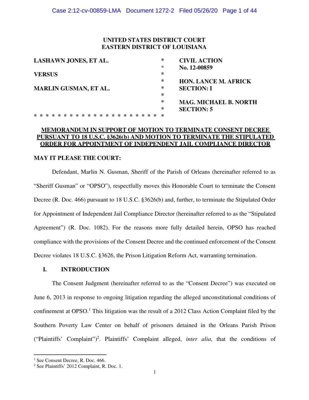 Marlin Gusman consent decree request