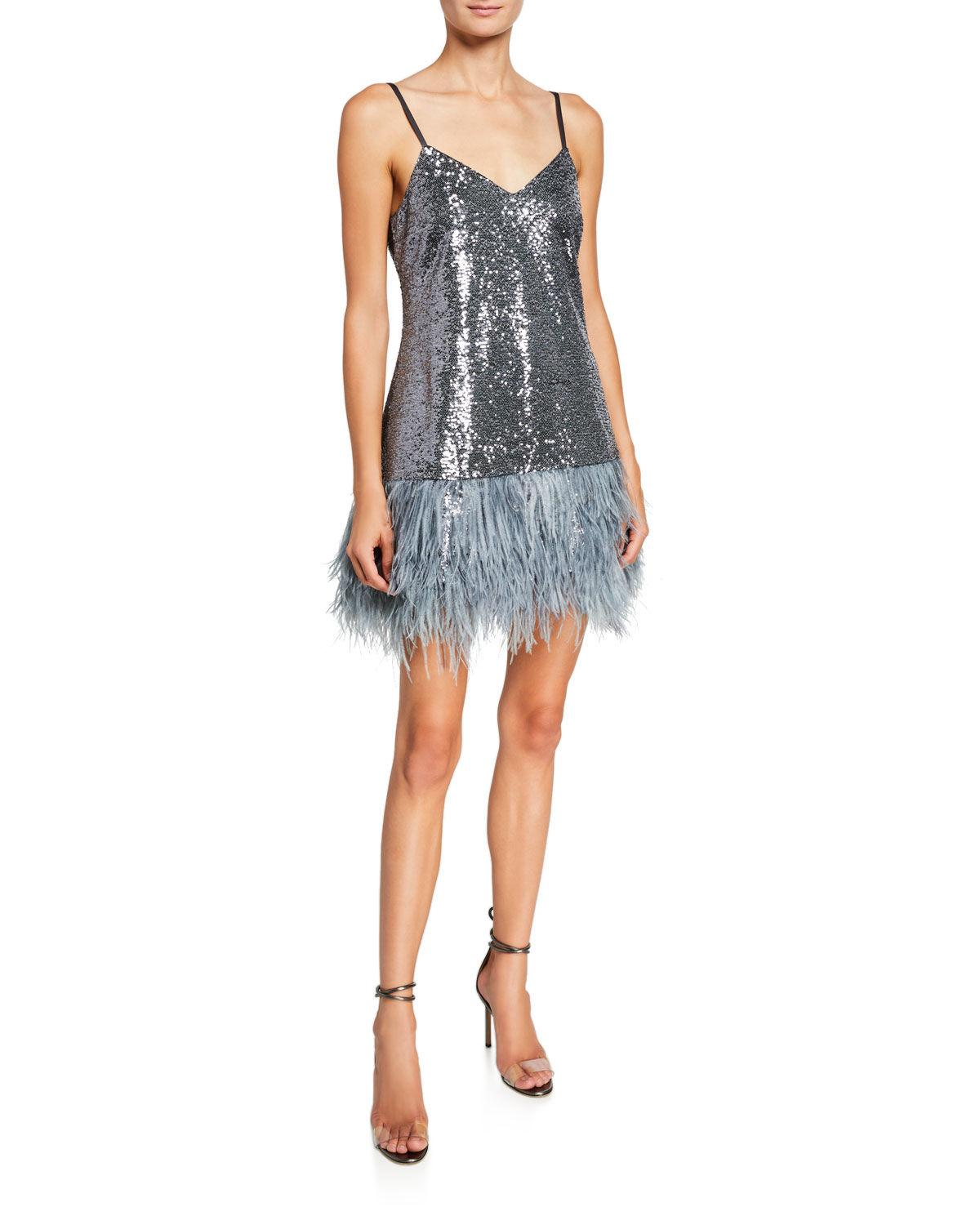 BG cinq a sept  seq and feather cocktail dress 595..jpg