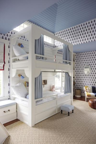 Vaulted Ceilings and Custom Bunk Beds Take this Bedroom to New Heights