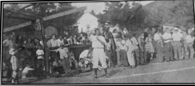 Sherman Oxendine at bat, Heidrick, KY, circa late 1930's