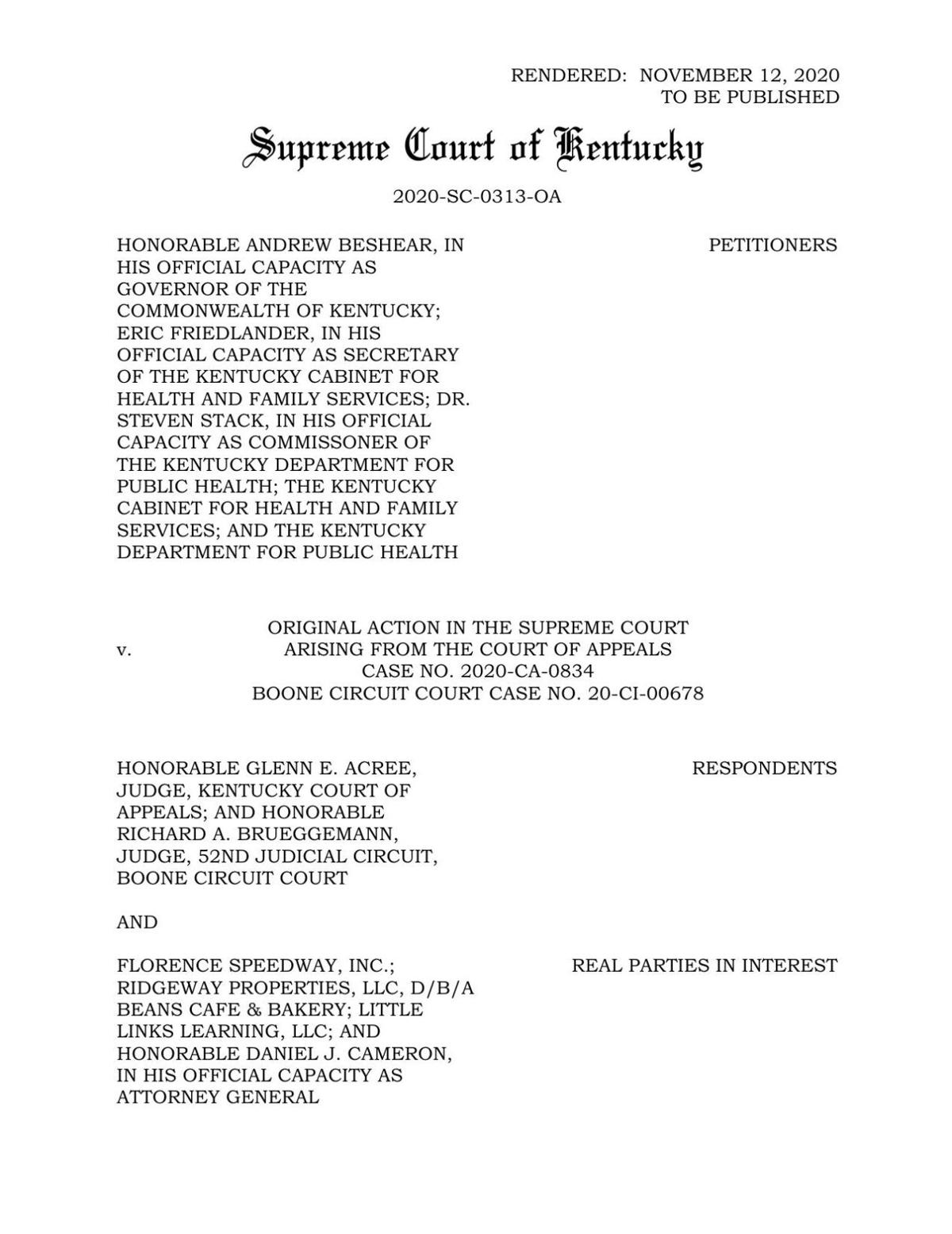 KY Supreme Court Upholds Gov Beshears Executive Orders Pertaining to COVID-19