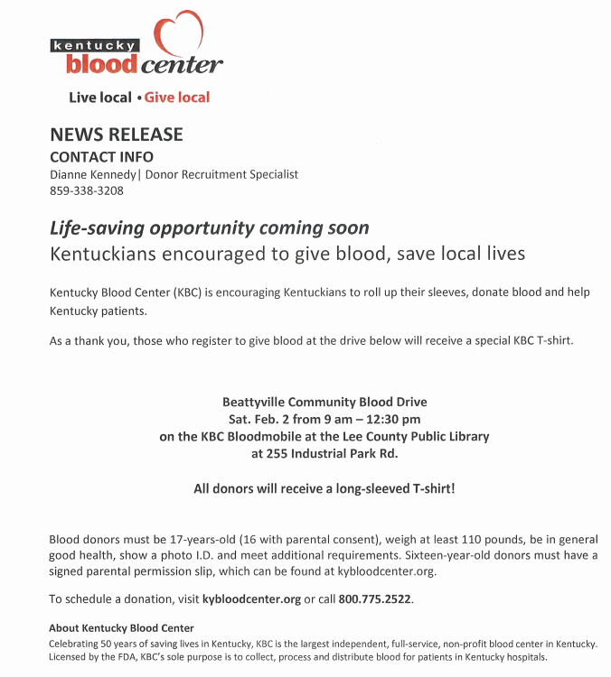 Upcoming Blood Drives in Lee County
