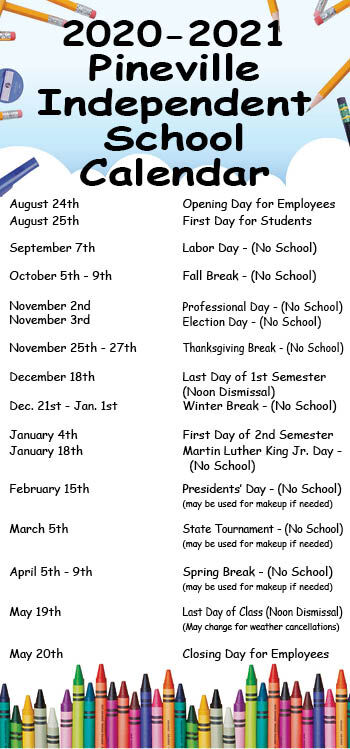 Pineville School Calendar