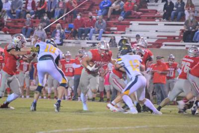Cameron Combs rushes for a first down against the Panthers.