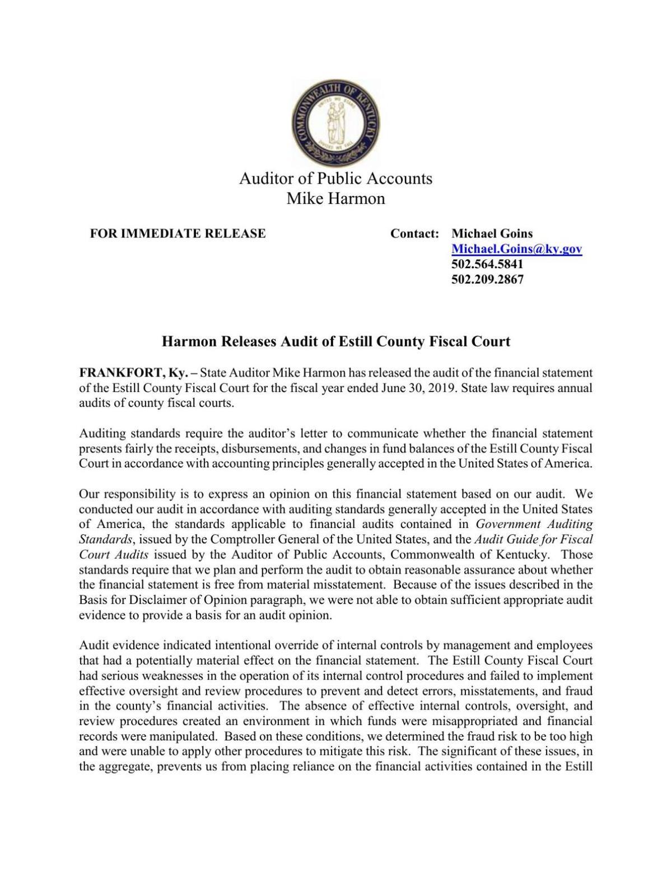 Estill County Fiscal Court Audit Press Release