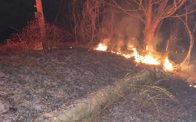 Brush fire out of control on KY 80