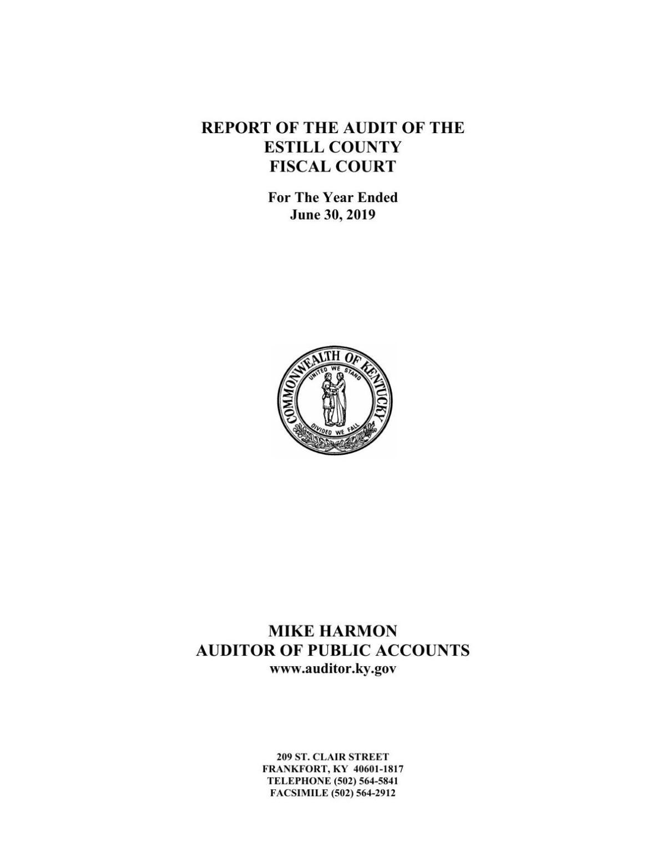 Estill County Fiscal Court Audit Report