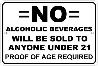 No Alcoholic Beverages to Minors
