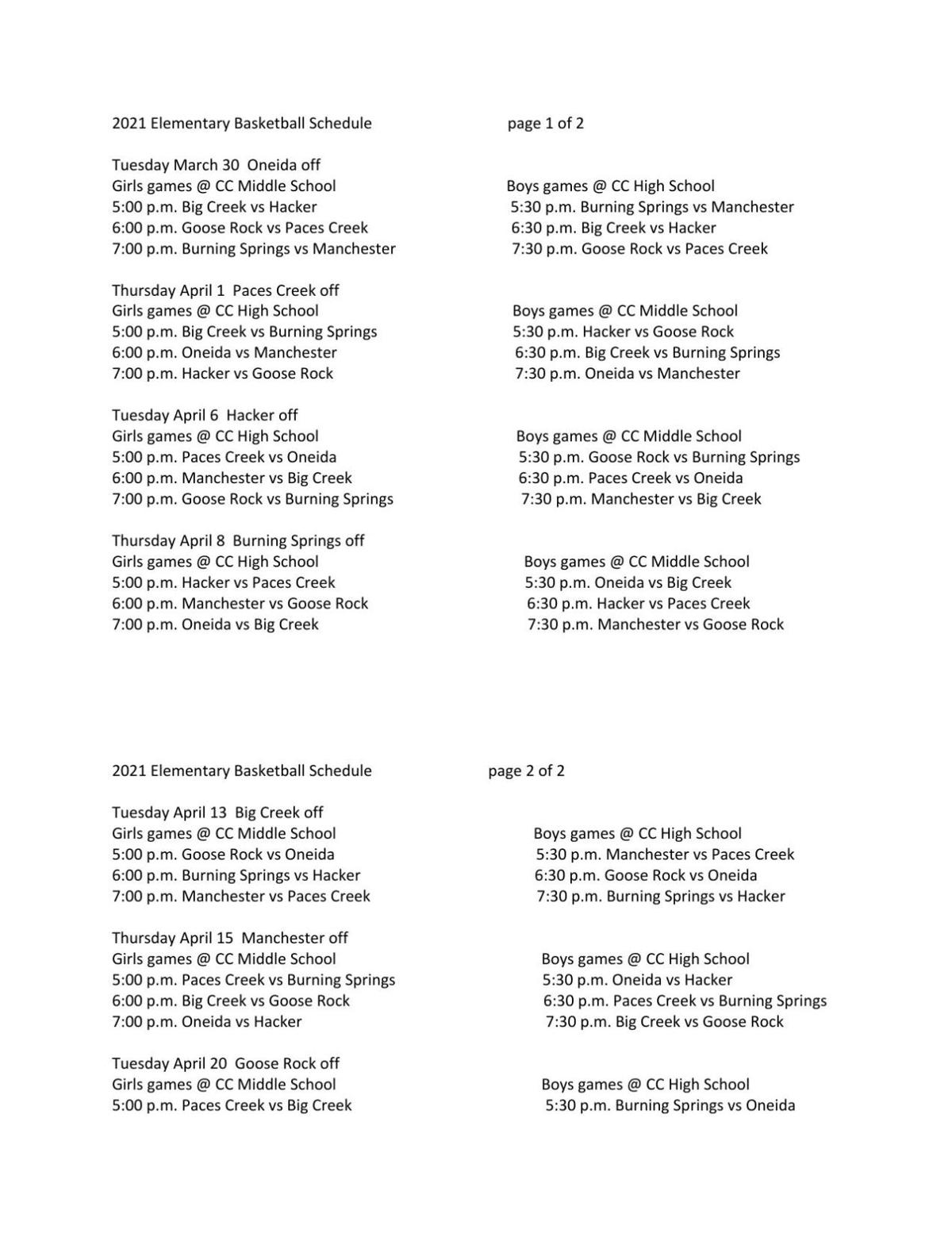Elementary basketball schedule released