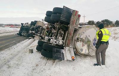 Milk truck flips after incident on Highway 81   News