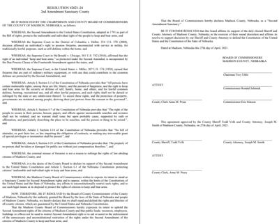 2nd Amendment Sanctuary County Resolution