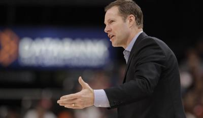 Nebraska head coach Fred Hoiberg calls a play during the first half of an NCAA college basketball game against Indiana at the Big Ten Conference tournament, Wednesday, March 11, 2020, in Indianapolis.