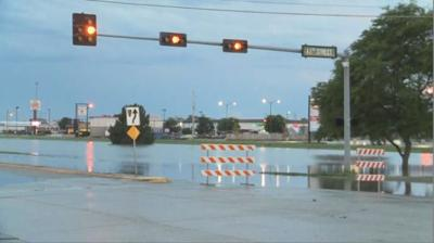 Roads remain flooded in south Kearney on Wednesday morning, including 2nd Avenue.