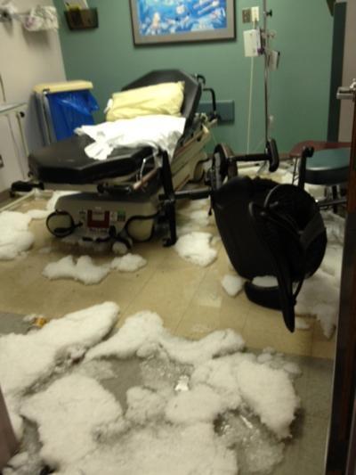 Exam room has hail inside it