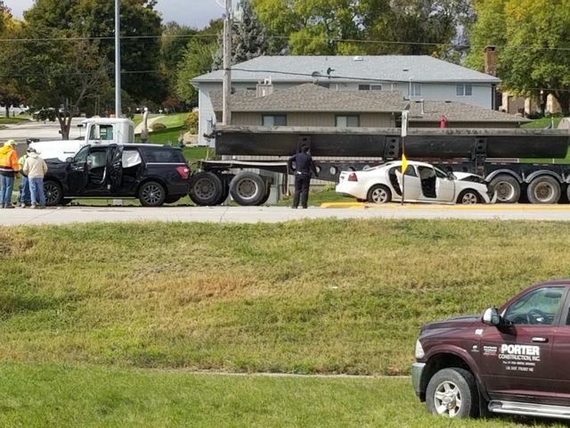 Norfolk first responders on scene of a three vehicle accident Friday afternoon.