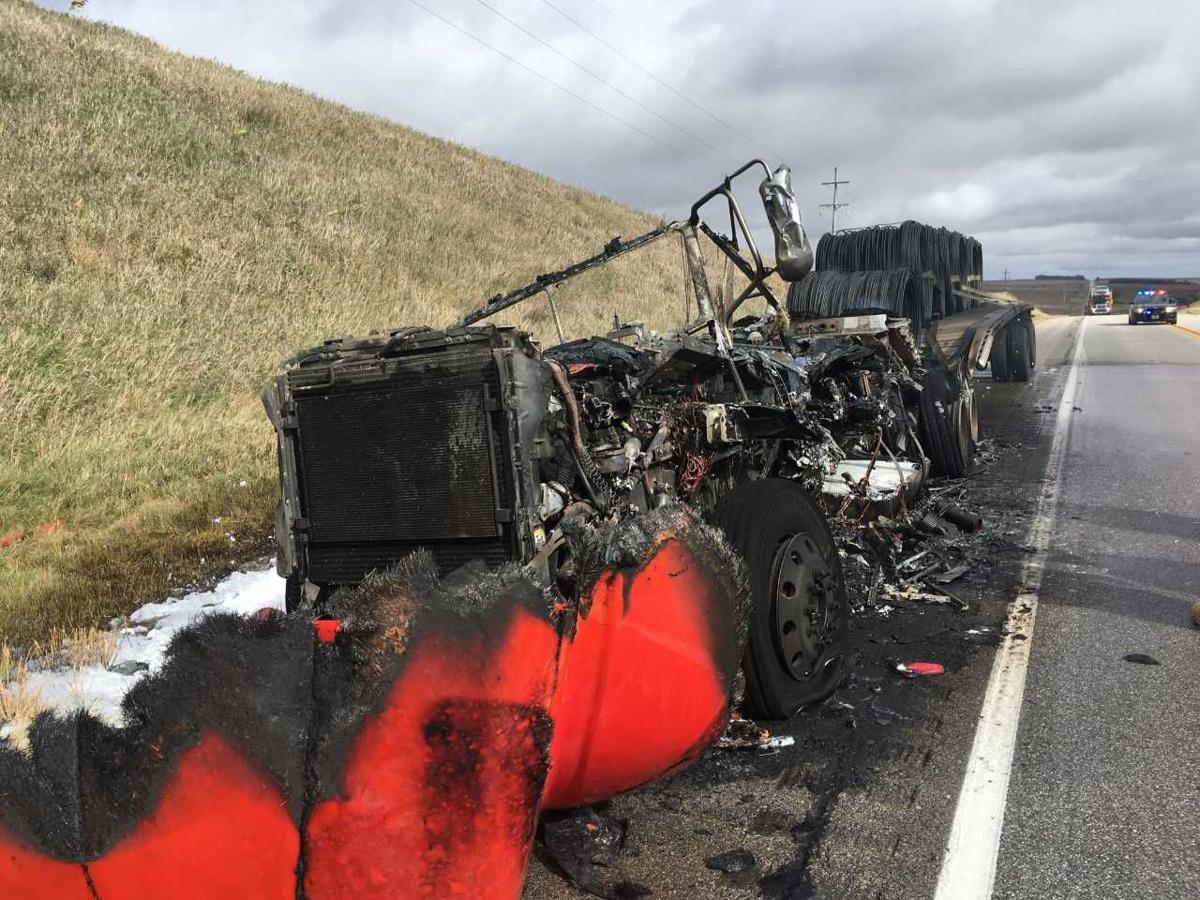 Semi-truck destroyed