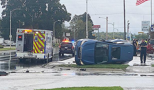 Accident flips vehicle