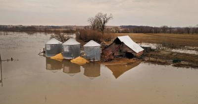 Grain bins affected by flooding