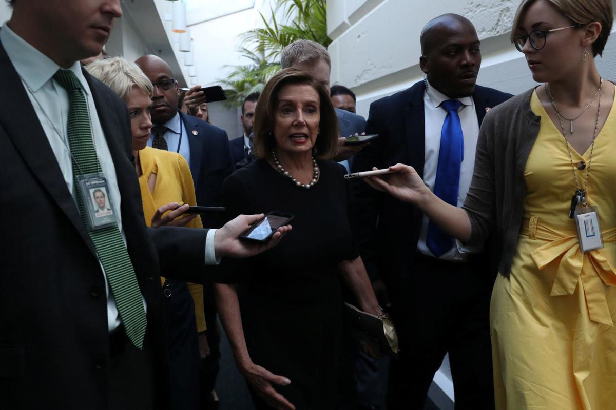 House Speaker Nancy Pelosi speaks to reporters at the U.S. Capitol in Washington