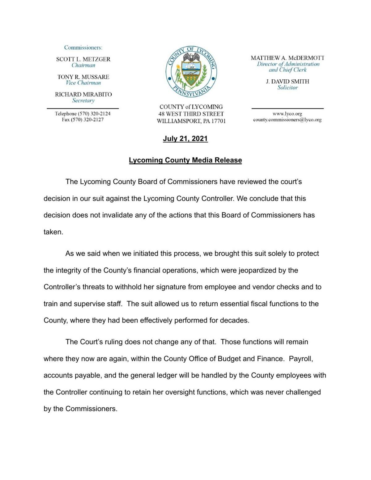 Lycoming County Commissioners Media Release