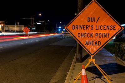 DUI checkpoint - stock photo