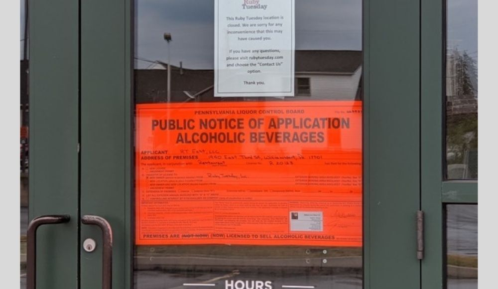 Ruby Tuesday application liquor license _ 2020