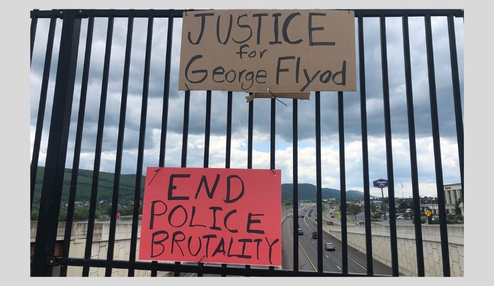 Justice for George Floyd sign _ 2020