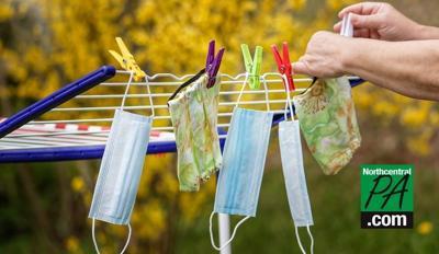 masks on clothesline