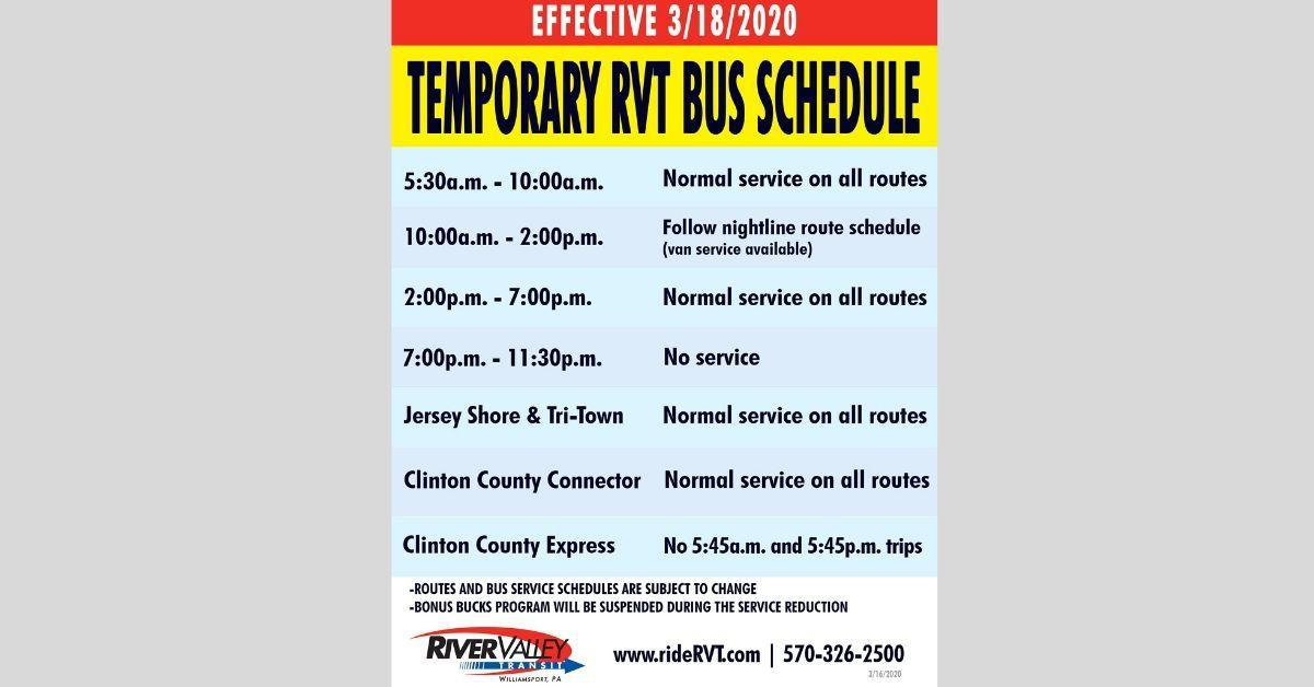 River Valley Transit Announces Schedule Reduction Covid 19 Local Resources Northcentralpa Com Places lock haven, pennsylvania publisher the express, lock haven, pa posts. river valley transit announces schedule
