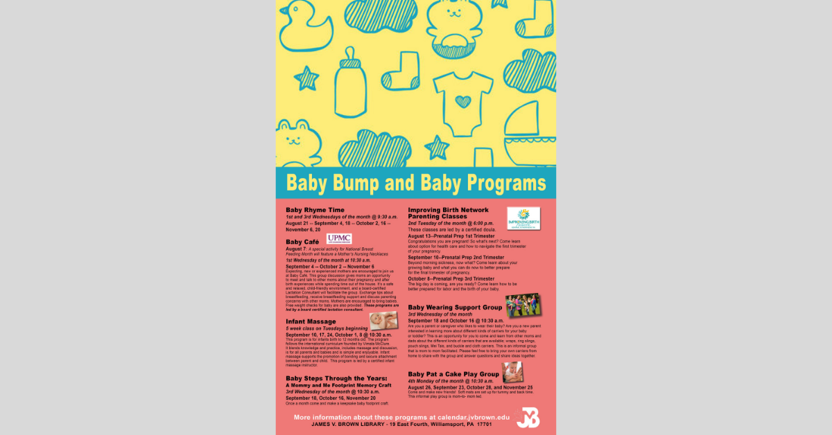 Baby Bump And Baby Programs Support Expecting And New Moms At The J V Brown Library Community Northcentralpa Com