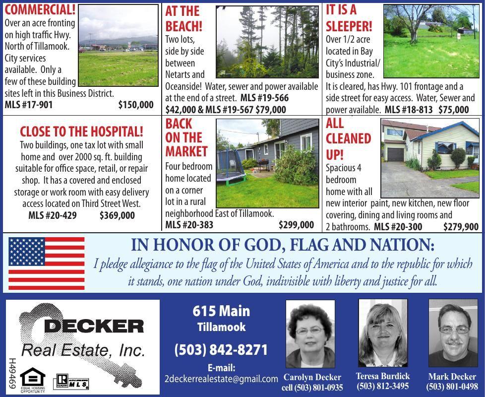 Featured Properties Decker Real eState, Tillamook 082620