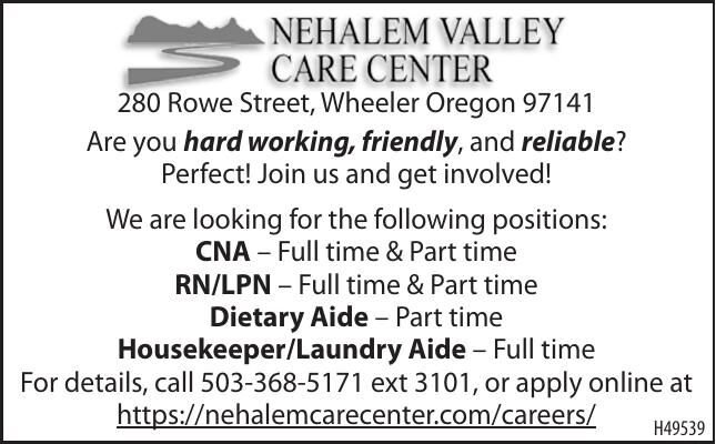 Current Openings Nehalem Valley Care Center 090920