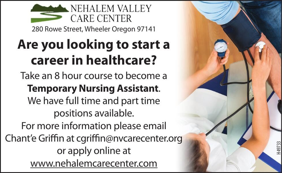 Eight hour course to become a Temporary Nursing Assistant-Training Provided NVCC Wheeler, OR 102820