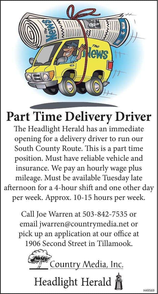 Newspaper Delivery Driver Needed P.T. Tillamook Headlight Herald