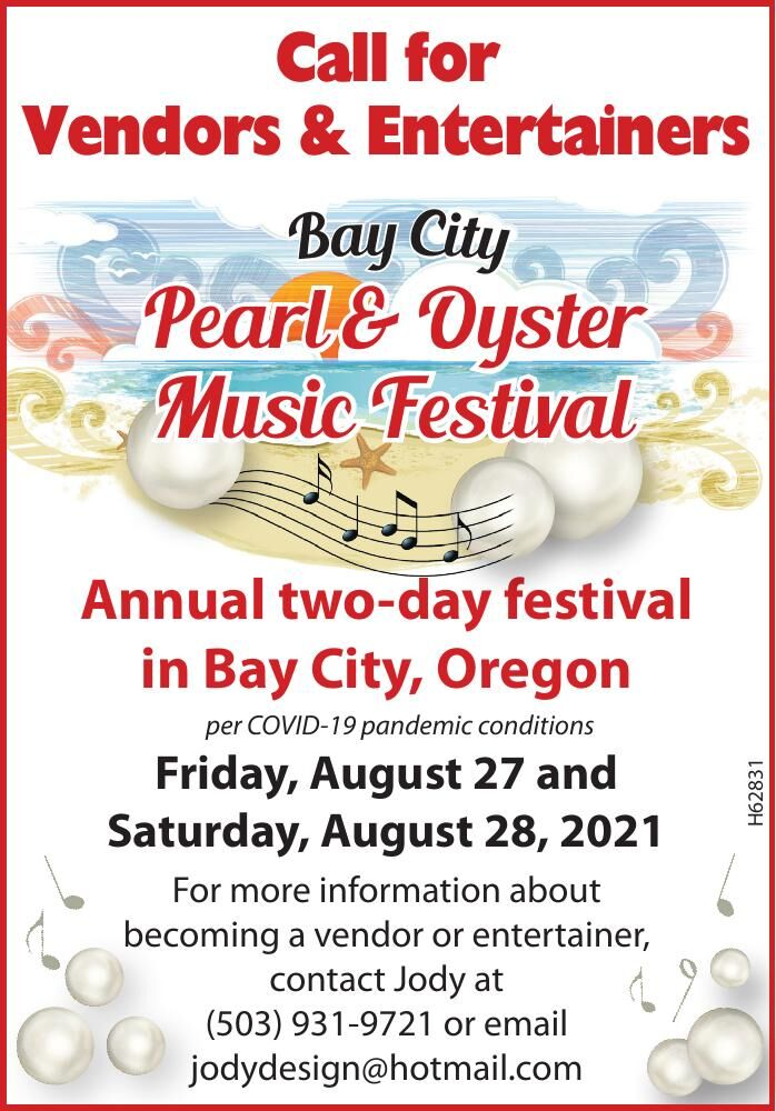 Bay City Pearl and Oyster Music Festival Call for Vendors 121720