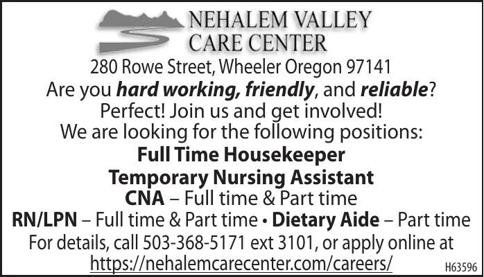 Current Openings Nehalem Valley Care Center 060121