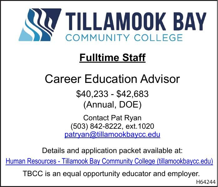 Hiring FT Career Education Advisor at Tilamook Bay CC