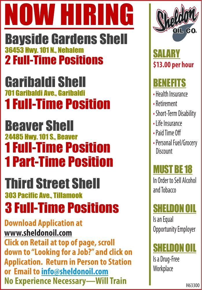 Now Hiring at Shell - Sheldon Oil Tillamook County 4pos 040621