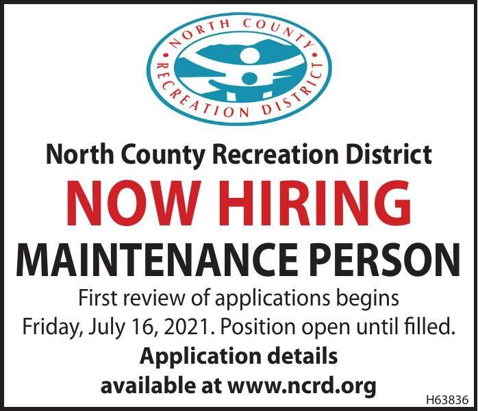 Hiring Maintenance Position NCRD, Nehalem 071321