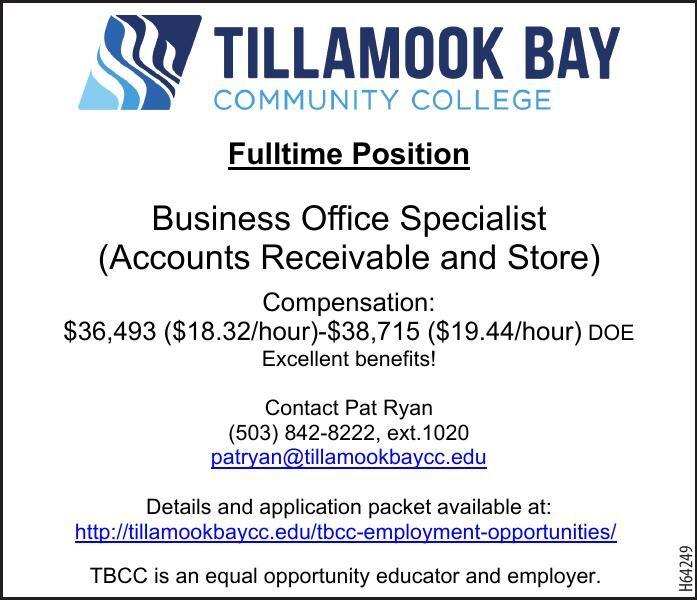 Hiring FT Business Office Specialist Tillamook Bay CC