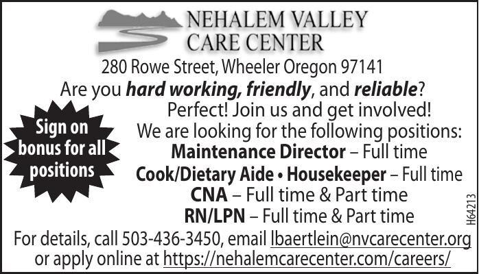 Current Openings October 2021 Nehalem Valley Care Center