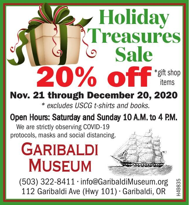 Holiday Treasures Sale 2020 Garibaldi Museum  112520